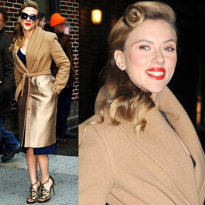 Scarlett Johansson arriving in a retro-style navy dress at the Late Show with David Letterman studio