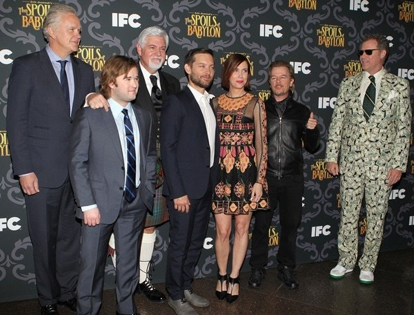 """Tim Robbins, Haley Joel Osment, Steve Tom, Tobey Maguire, Kristen Wiig, David Spade, and Will Ferrell all pose for photos at a screening of """"The Spoils of Babylon"""""""