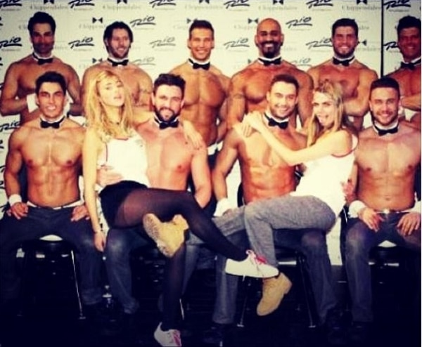 Instagram photo of Suki Waterhouse with Cara Delevingne and the Chippendales in Vegas posted on January 15, 2014