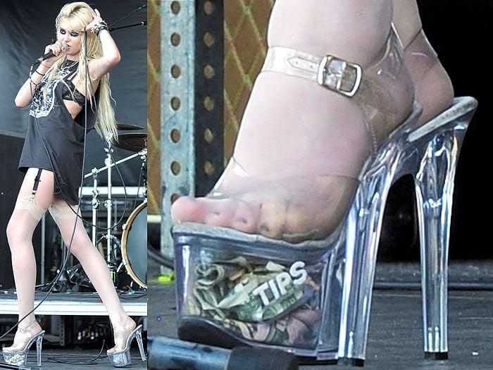 Taylor Momsen tip jar stripper heels