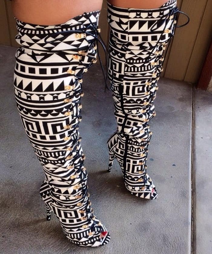 Tribal Lace Up Peep Toe Thigh High Boots