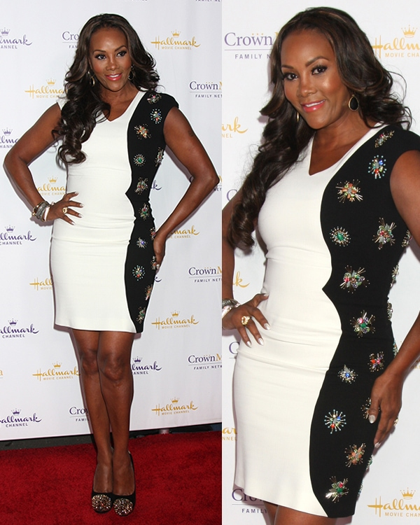 Vivica A. Fox in a black-and-white Emilio Pucci dress that is luxuriously studded with beads and stones