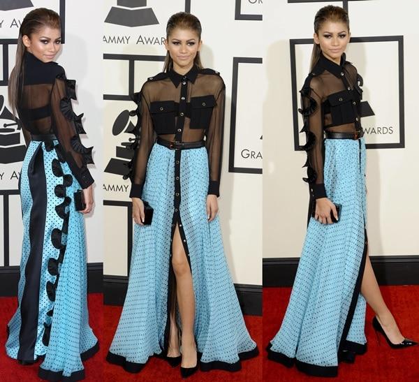 Zendaya's skirt and blouse combination from Emanuel Ungaro