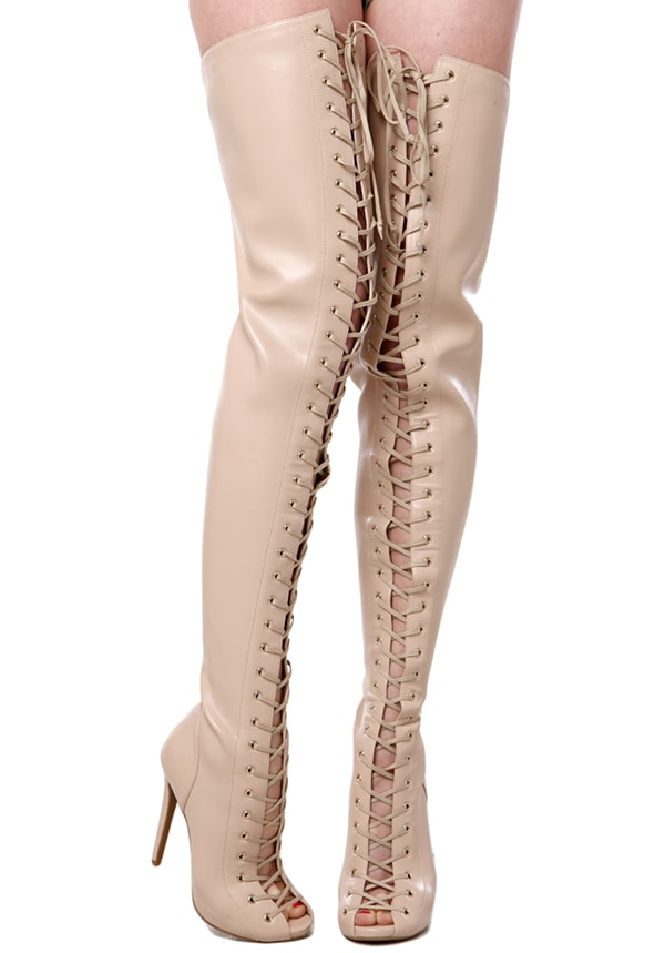 ZigiNY Piarry Boots in Nude Stretch