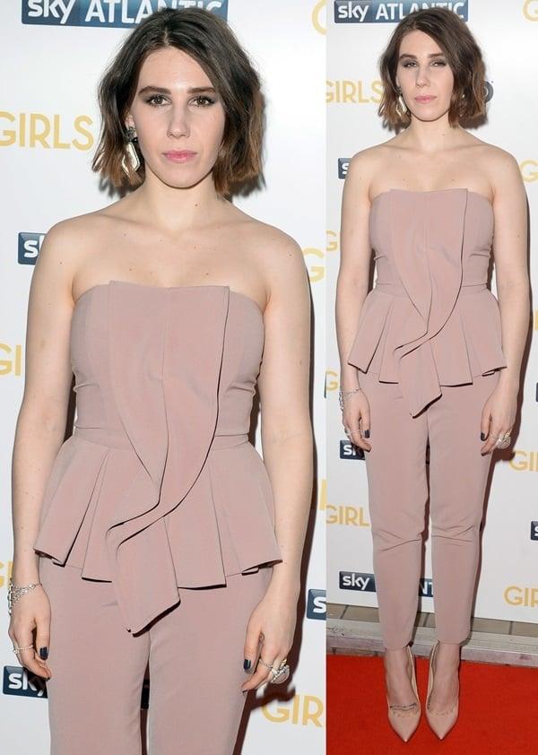 Zosia Mamet's strapless blush peplum jumpsuit by Elisabetta Franchi