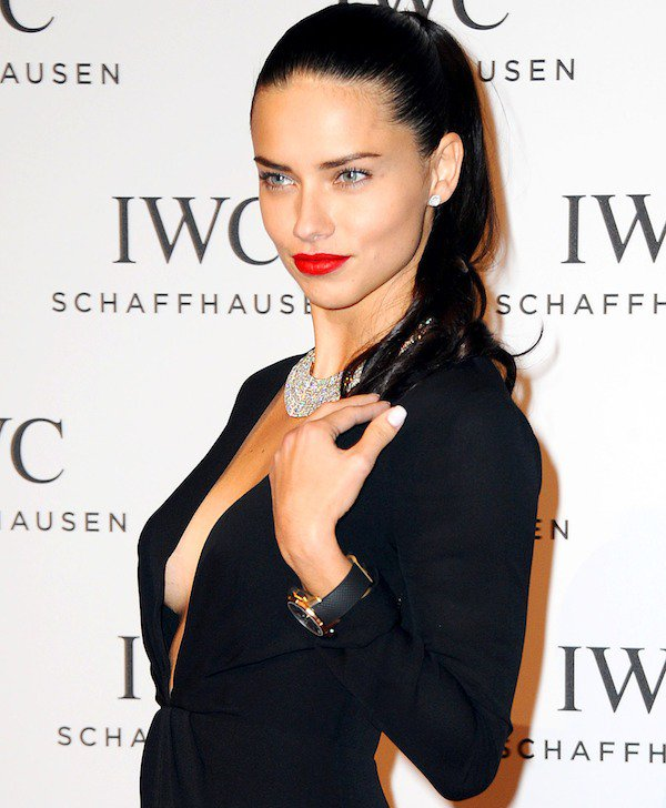 Adriana Lima punctuated her glamorous look with a diamond necklace and a gorgeous timepiece from IWC Schaffhausen's new collection