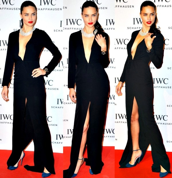 Adriana Lima smoldered in a floor-length black gown from Jenni Kayne's Fall 2013 collection