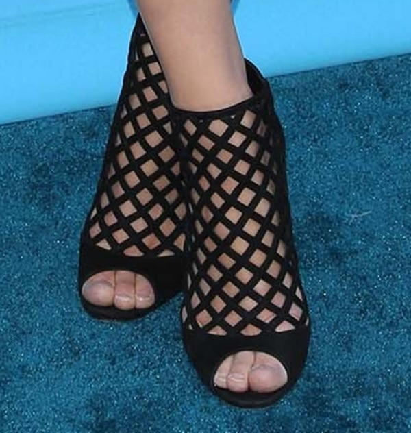 Alexandra Daddario in seriously fierce cutout booties from Jimmy Choo