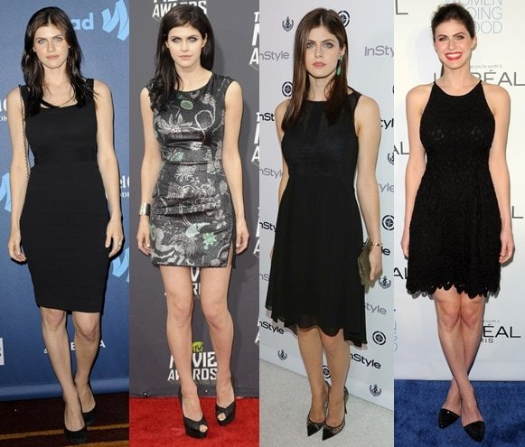 Alexandra Daddario's red carpet style — involving a lot of black (black dresses and black pumps)