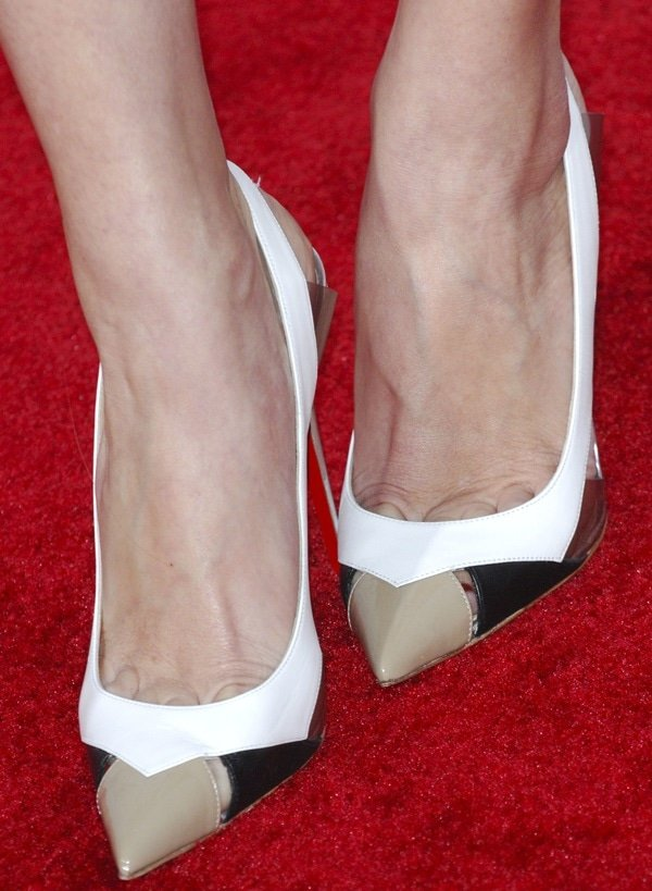 "Allison Williams showing toe cleavage in Christian Louboutin tri-tone ""Air Chance"" slingback pumps"