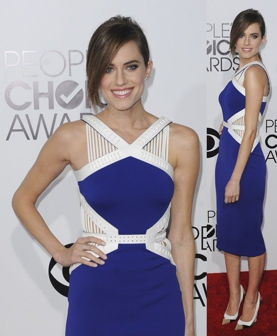 Allison Williams wearing a mixed-media color-blocked Daivd Koma dress at the 2014 People's Choice Awards held at the Nokia Theatre L.A. Live in Los Angeles on January 8, 2014