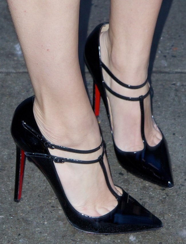 A closer look at Allison's t-strap pumps from Christian Louboutin
