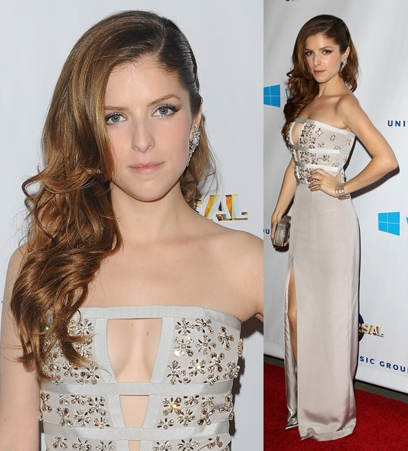 Anna Kendrick wearing a beaded silver gown by Azzaro for the 2014 Grammy Awards