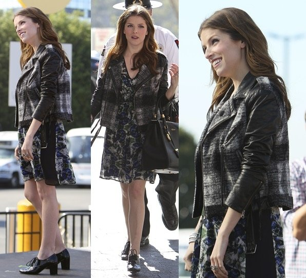 Anna Kendrick finishing off her mixed-print outfit with patent oxfords