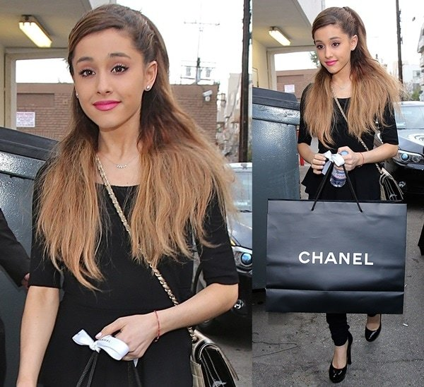 Ariana Grande was seen shopping at the Chanel Boutique in Los Angeles yesterday wearing a low-key black outfit