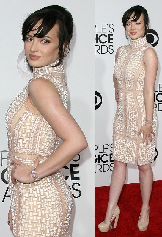 Ashley Rickards wearing a Michael Cinco dress at the 2014 People's Choice Awards held at the Nokia Theatre L.A. Live in Los Angeles on January 8, 2013