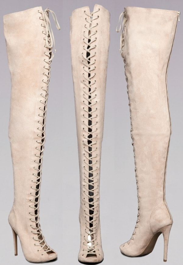 Bebe 'Taryn' Lace-Up Thigh-High Open-Toe Boots