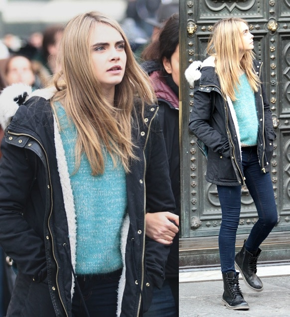 Cara Delevingne and Daniel Bruhl on the filmset of 'The Face of an Angel'
