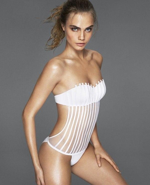 Cara Delevingne modelling for La Perla