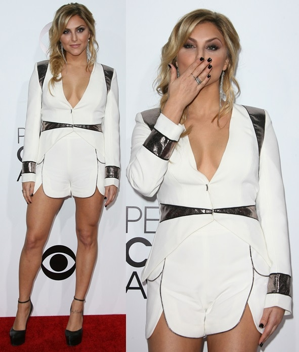 Cassie Scerbo in a silver-trimmed two-piece short-suit at the 2014 People's Choice Awards held at the Nokia Theatre L.A. Live in Los Angeles January 8, 2014