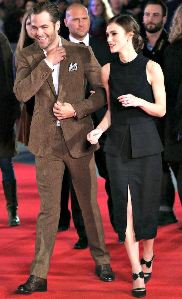 Keira Knightley with co-star Chris Pine at the premiere of 'Jack Ryan: Shadow Recruit'