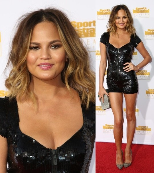 Chrissy Teigen capping off her onesie with crystal-encrusted pumps from Christian Louboutin at the 50th anniversary celebration of Sports Illustrated at Dolby Theatre in Beverly Hills on January 14, 2014