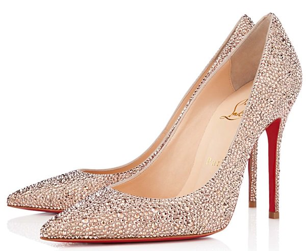 Christian Louboutin Strass Decollete Pumps in Nude
