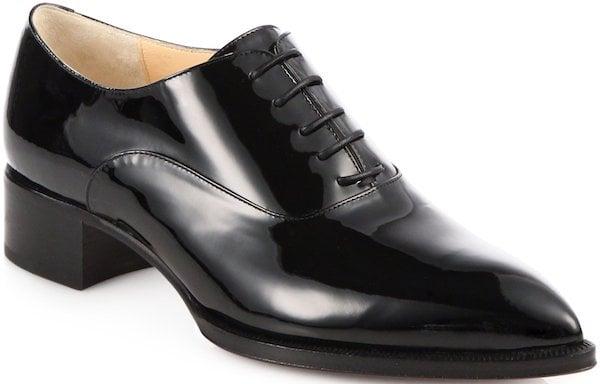 "Christian Louboutin ""Zazou"" Brogues in Black Patent Leather"