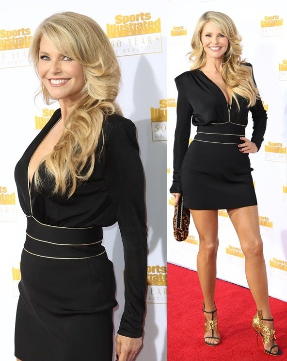 Christie Brinkley sizzling in black and gold at the 50th anniversary celebration of Sports Illustrated at Dolby Theatre in Beverly Hills on January 14, 2014