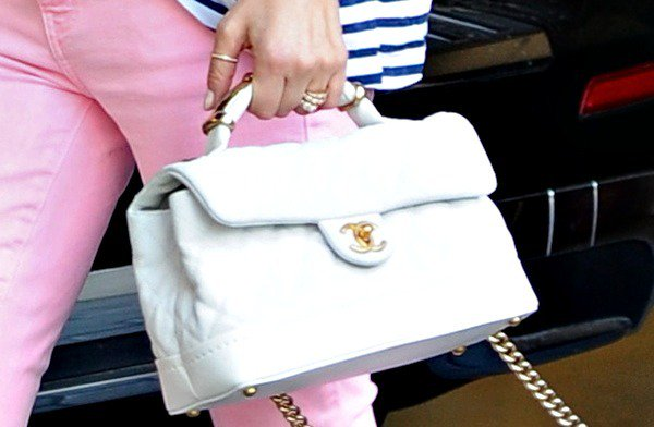 Diane Kruger toting a white quilted bag from Chanel