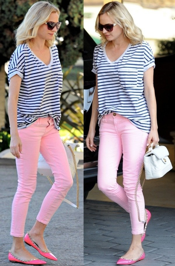 Diane Kruger wearing a Breton striped shirt paired with dusty pink skinny jeans in West Hollywood, California, on January 11, 2014