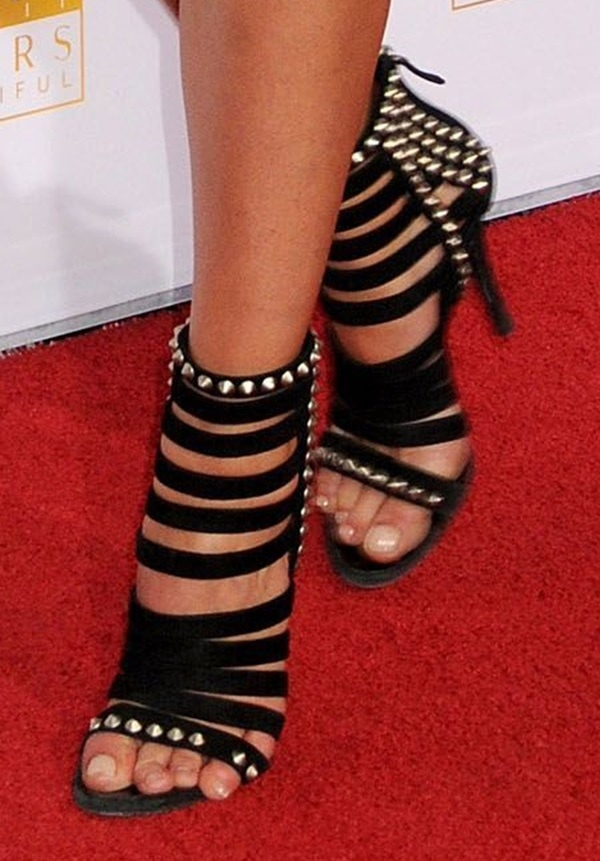 Dominique Piek wearing an edgy pair of studded bootie sandals at the 50th anniversary celebration of Sports Illustrated at Dolby Theatre in Beverly Hills on January 14, 2014
