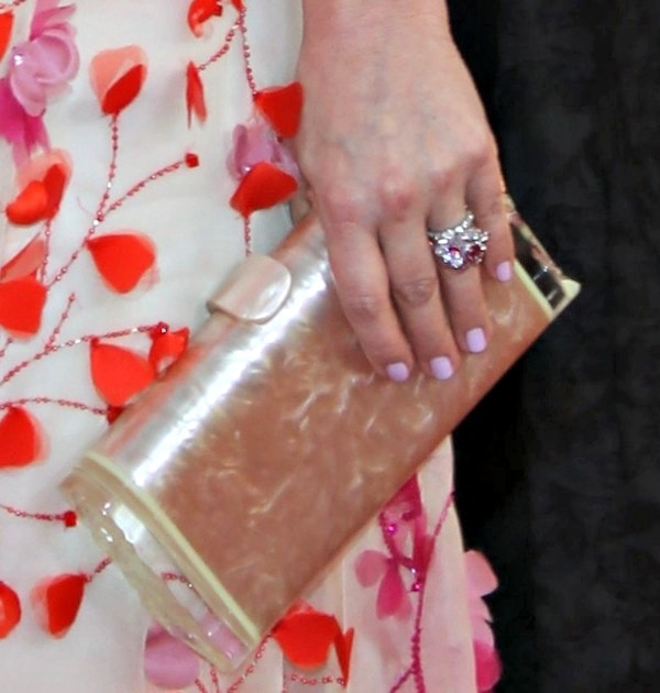 Drew Barrymore carried a clutch from Edie Parker