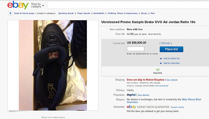 eBay listing for the limited edition sneakers from rapper Drake's own October's Very Own x Air Jordan line