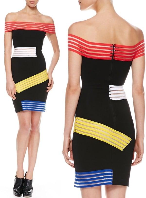 elastic-striped off-the-shoulder dress Christopher Kane