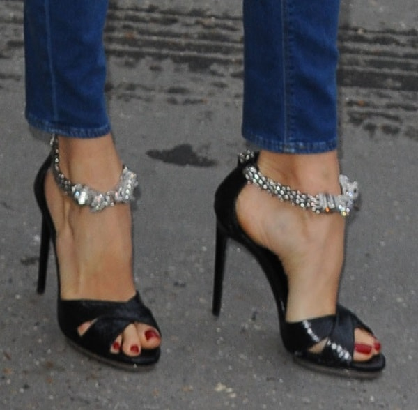 Elena Perminova in Jeweled Ankle-Strap Sandals
