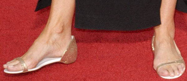 Emma Thompson shows off her feet in Toboggan d'Orsay flats