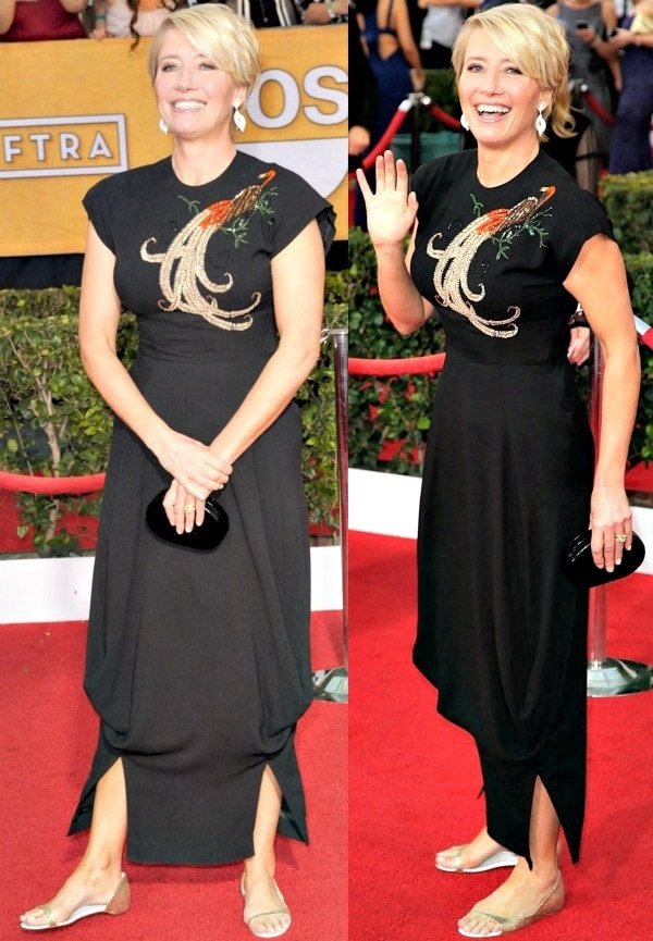 Emma Thompson wore a vintage black gown with cap sleeves and a beautiful bird appliqué