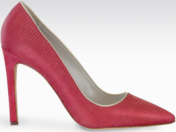 "Gio Diev ""Ancona"" Pumps in Raspberry Stamped Lizard"