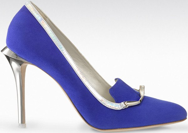 "Gio Diev ""Beirut"" Loafer Pumps in Blue Suede"