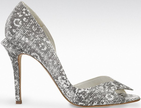 """Gio Diev """"Gela"""" D'Orsay Pumps in Black-and-White Stamped Lizard"""