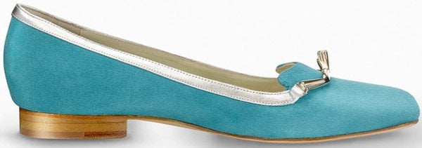 "Gio Diev ""Lili"" Loafers in Turquoise Suede"