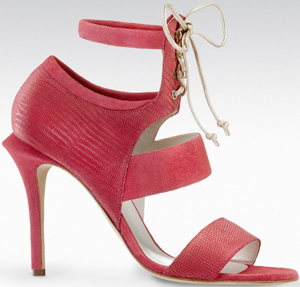 "Gio Diev ""Melbourne"" Open-Toe Booties in Raspberry"
