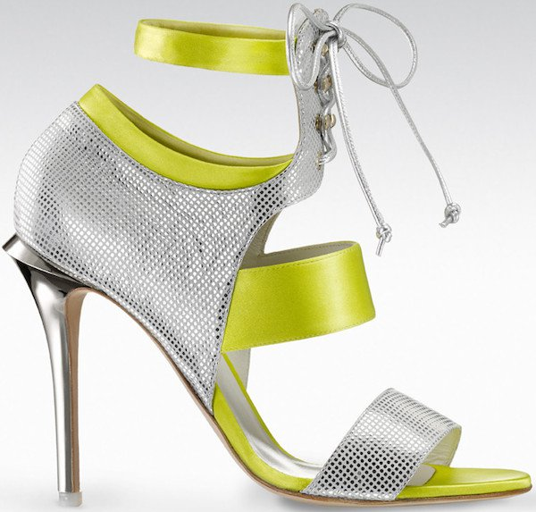 "Gio Diev ""Melbourne"" Open-Toe Booties in Yellow and Silver"