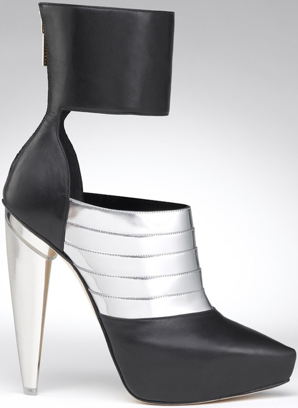 "Gio Diev ""Nara"" Ankle-Cuff Booties in Black Calf and Silver"
