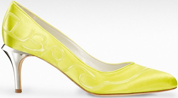 "Gio Diev ""Tivoli"" Pumps in Yellow Satin"