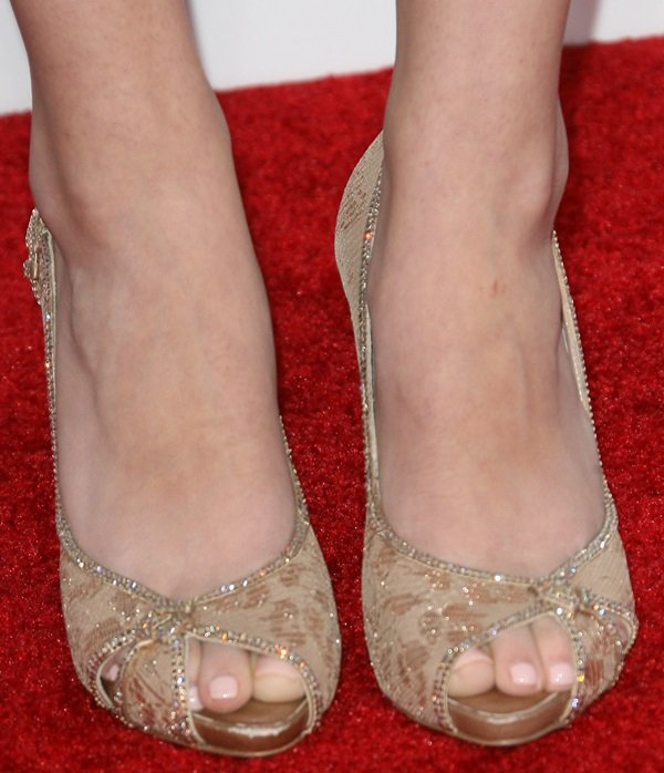 Greer Grammer's sexy feet in jeweled lace peep-toe pumps from Rene Caovilla