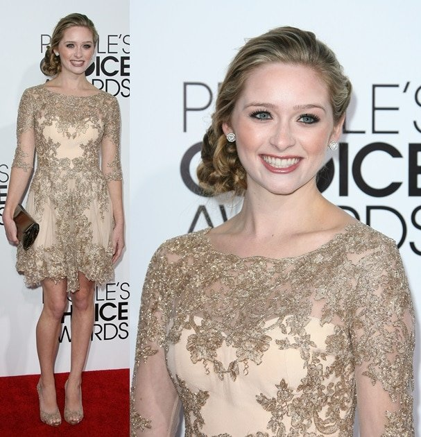 Greer Grammer as a golden girl wearing a beautiful lace frock at the 2014 People's Choice Awards held at the Nokia Theatre L.A. Live in Los Angeles on January 8, 2014
