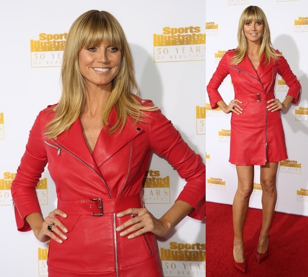 Heidi Klum wearing red from head to toe at the 50th anniversary celebration of Sports Illustrated at Dolby Theatre in Beverly Hills on January 14, 2014
