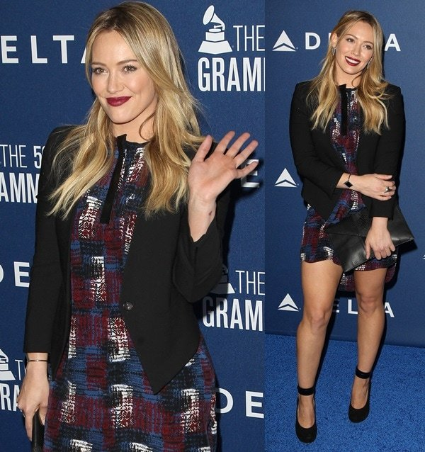 Hilary Duff wears her hair down at the Delta Airlines 2014 Grammys Weekend Party
